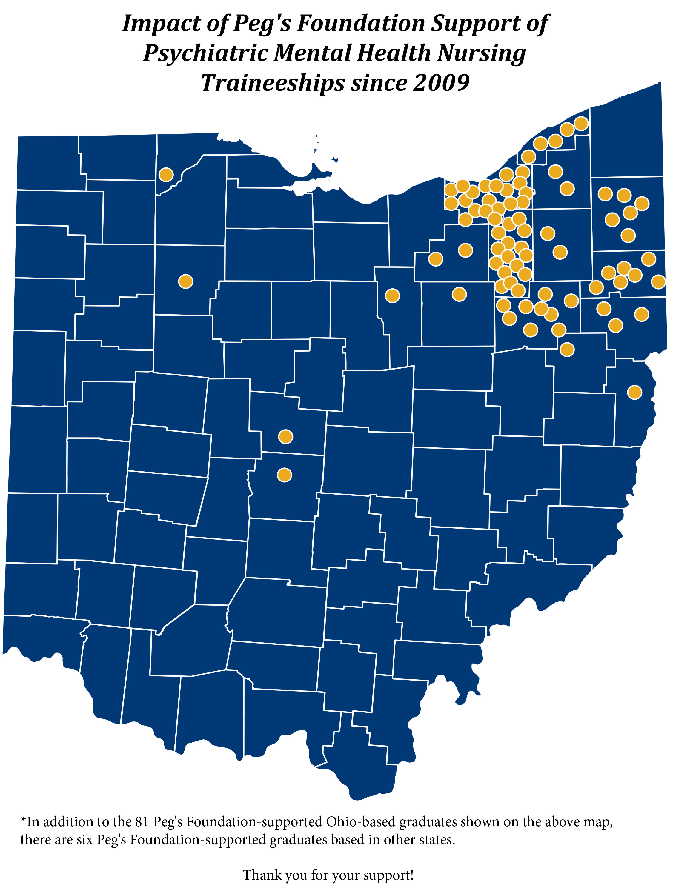 With the assistance of Kent State Foundation Relations, the college recently produced a map showcasing the communities its graduates are working in and the continuous impact Peg's Foundation traineeships are making in northeast Ohio.