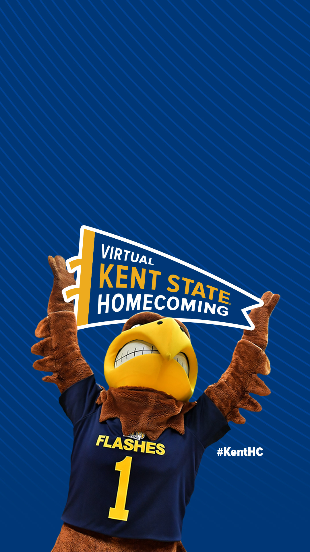 Photo of Flash, holding a pennant flag that says Virtual Kent State Homecoming