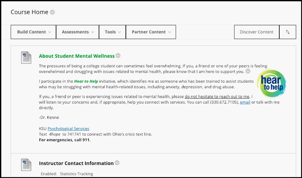 Screenshot for Hear to Help instructor statement to post on Blackboard Learn