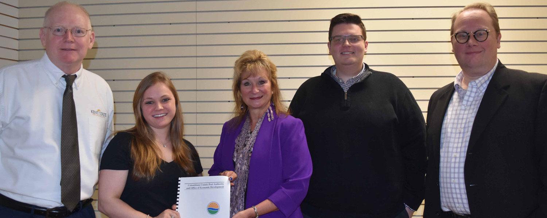 (From left) Tim McFadden, instructor; student Macie Davidson; Penny Traina, Port Authority; student Drew Dawson; Tad Herold, Economic Development
