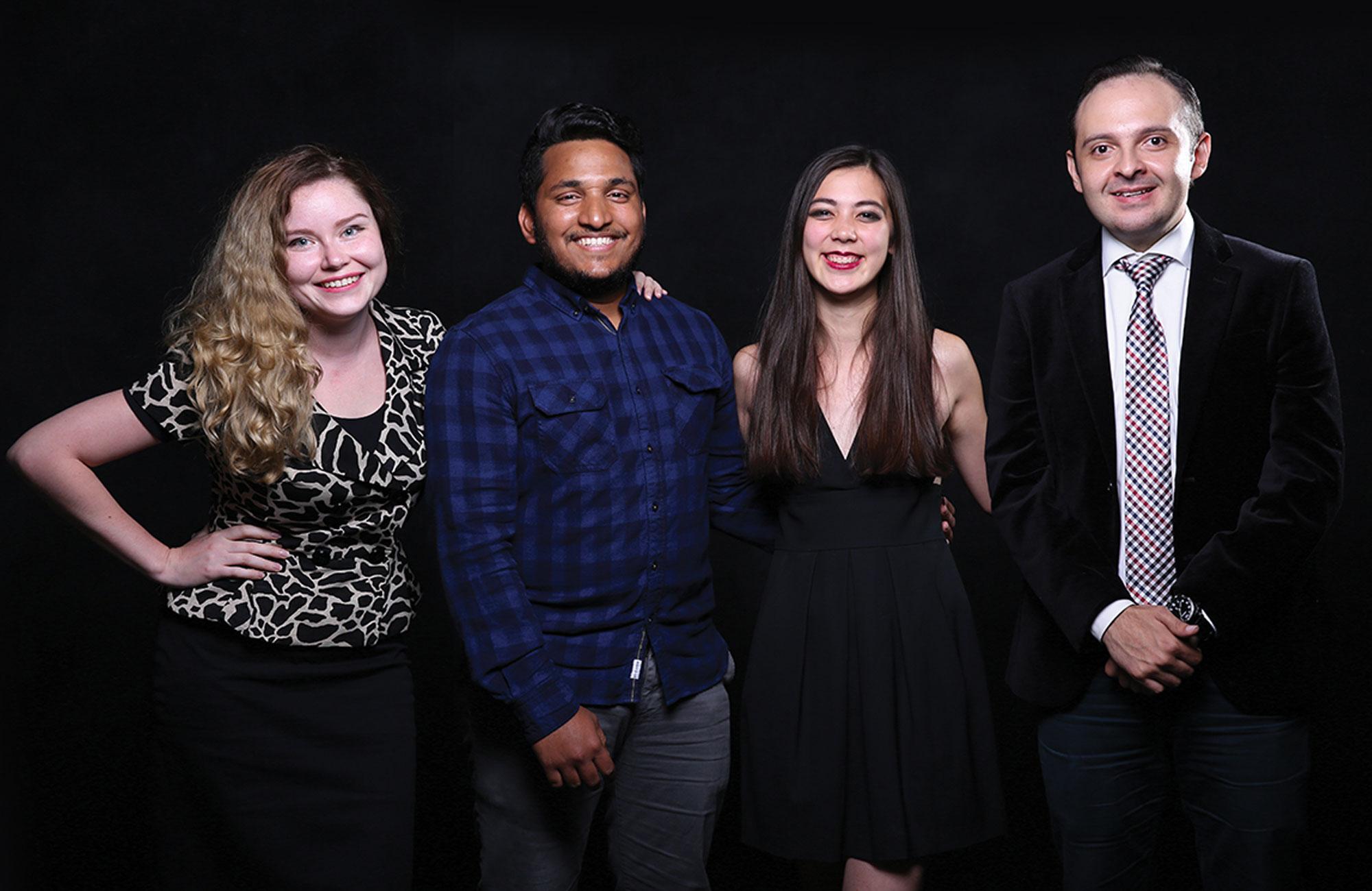 Above: The Fringe team (l to r)—Elena Blaginykh, Paramanand Deginal, Michelle Park, Naser Madi.
