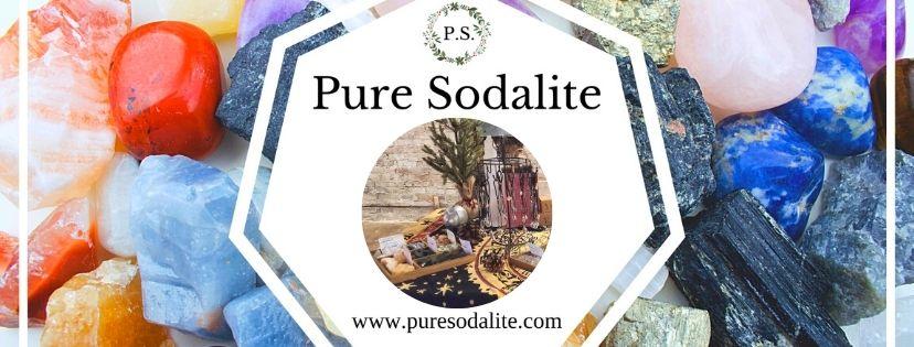 Pure Sodalite logo and crystals