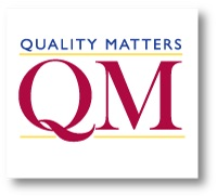 The letters Q and M in burgundy with yellow bars above and below them