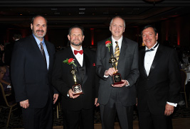 Kent State Provost Todd Diacon, Hall of Fame Society inductees Michael J. King and Allan M. Boike, and OCPM President Thomas V. Melillo pose for a photo during OCPM's 2012 Glass Slipper Fete.