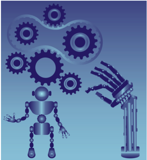 Robotics Image with Gears and AI arm