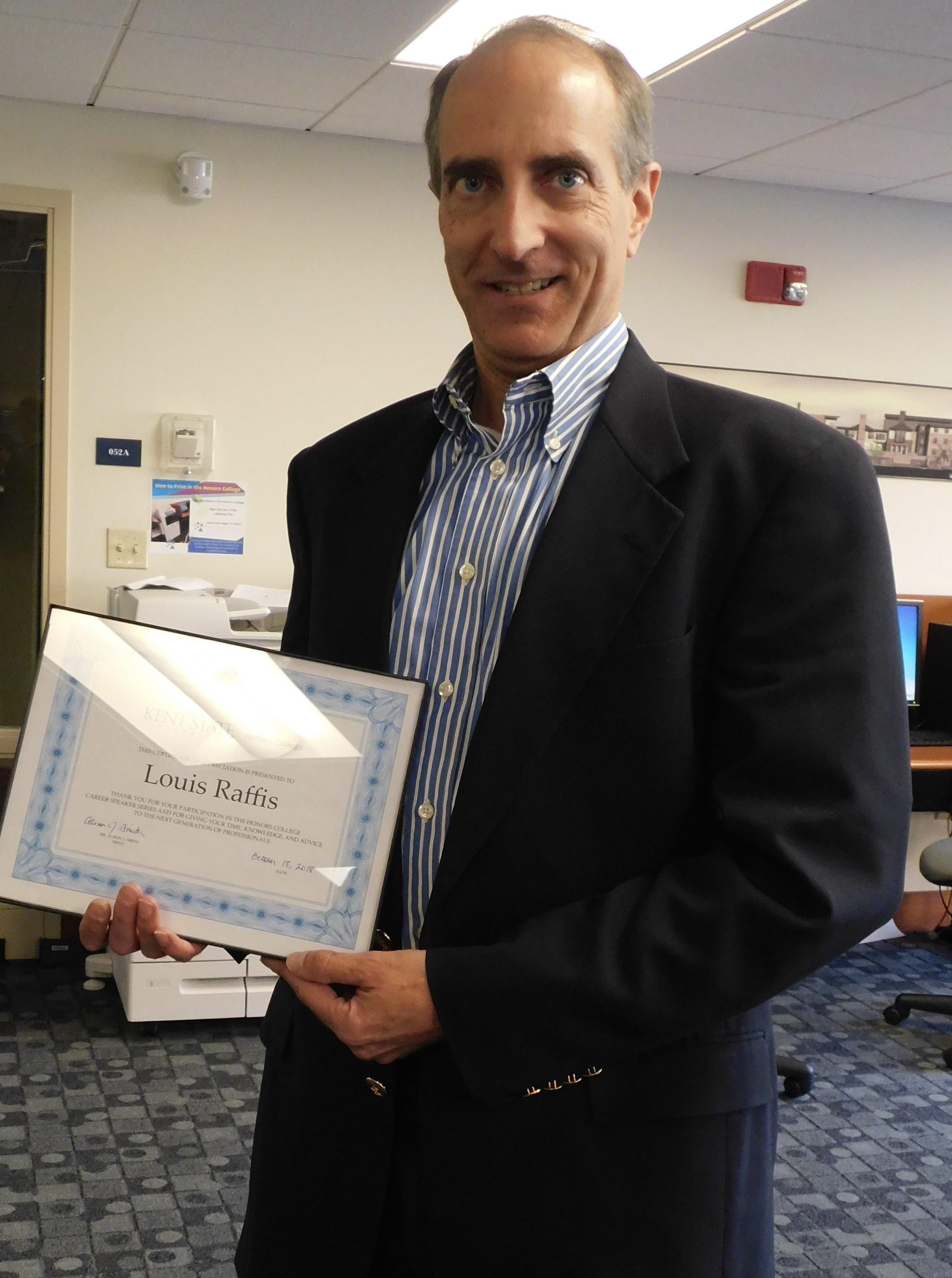 Lou Raffis, recipient of the 2020 Distinguished Honors Alumni Award