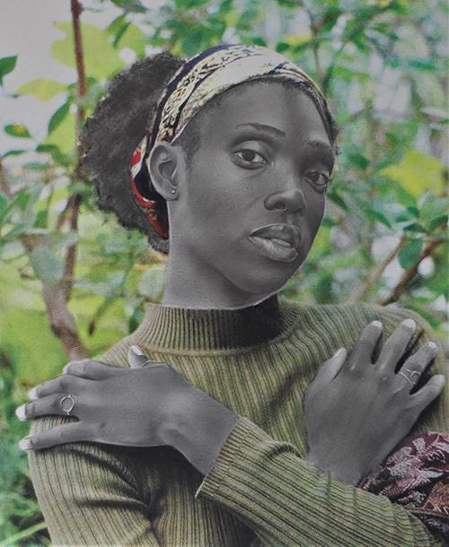 Richard Agbeze, Black Femininity, pencil and serigraphy, 2019, portrait of a woman