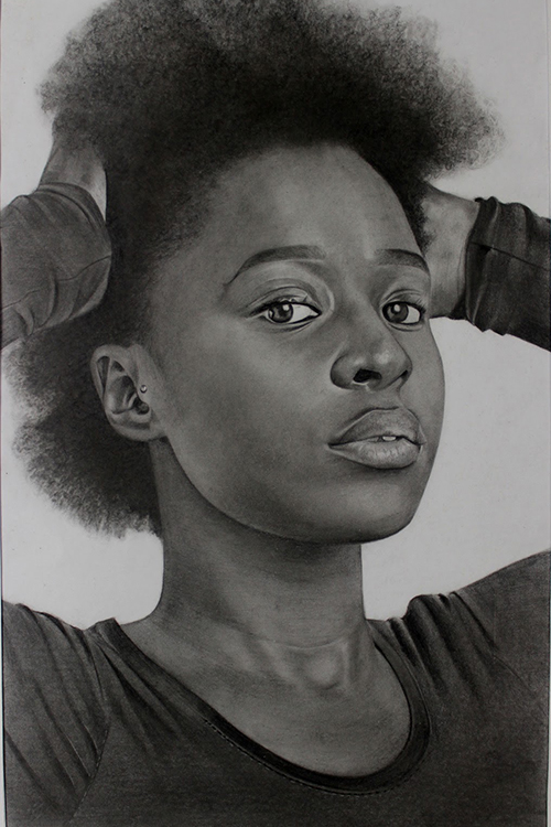Richard Agbeze, Untitled, pencil on paper, 2017, portrait of a girl