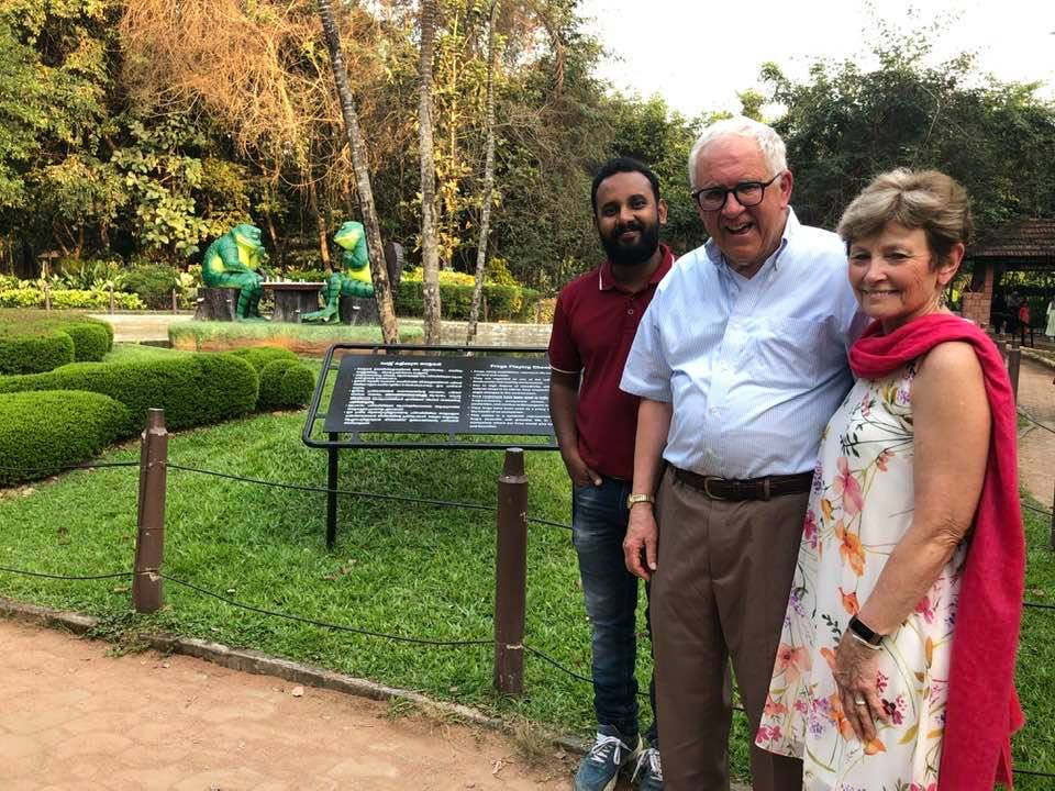 Picture of Janet and I with Riyas in the garden of the Teakwood Museum