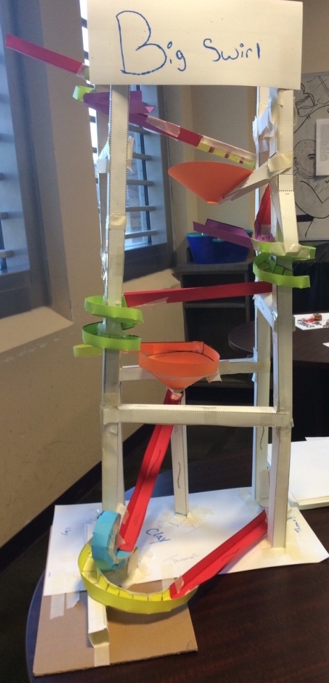 Paper roller coaster built by youth at detention center
