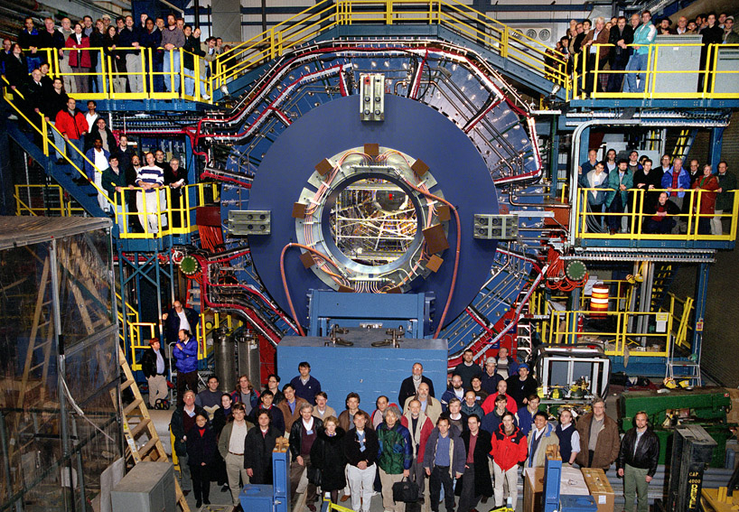 The Solenoidal Tracker at RHIC (STAR) is a detector which specializes in tracking the thousands of particles produced by each ion collision. The massive unit weighs 1,200 tons and is as large as a house. Photo courtesy of Brookhaven National Laboratory.