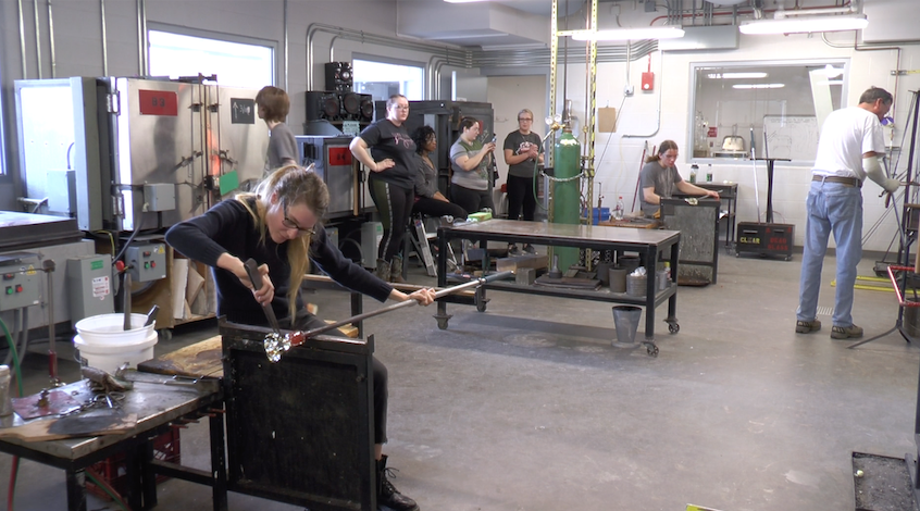 Students Work with Glass During Class in the Hot Shop