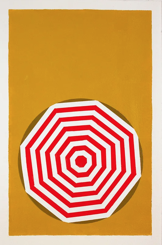 "Shawn Powell, Beach Umbrella, 2020.  Acrylic on Canvas. 30""x66"", painting of a red and white striped beach umbrella with a dark yellow background."