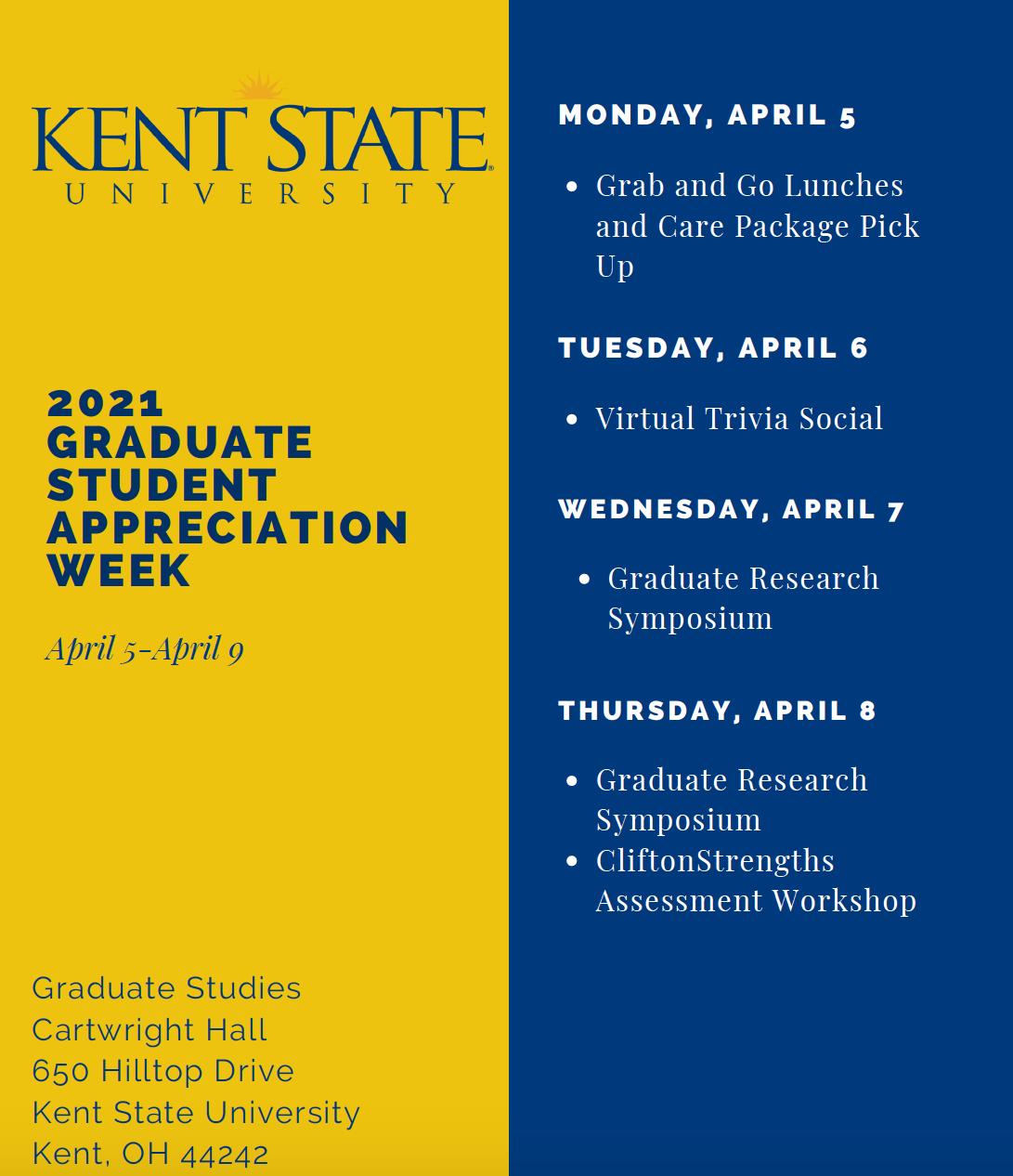 2021 Graduate Student Appreciation Week Schedule