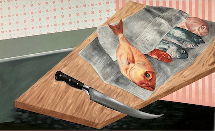 Painting of fish on a cutting board by Katie Butler.
