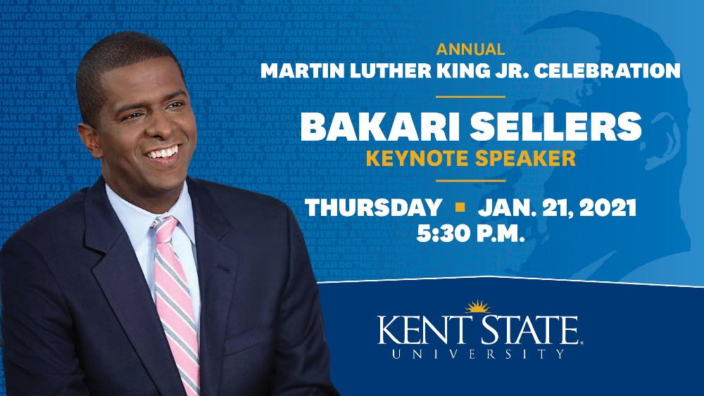 Kent State will hold its annual Martin Luther King Jr. Celebration at 5:30 p.m. Thursday, Jan. 21. Serving as this year's keynote speaker is CNN political analyst and former South Carolina state Rep. Bakari Sellers.