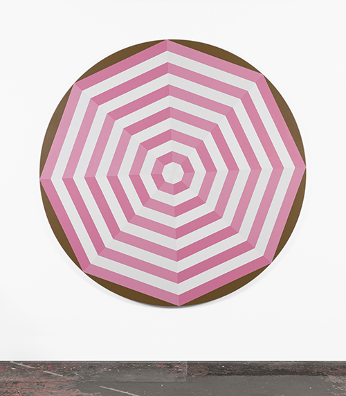 Painting by Shawn Powell - Beach Umbrella (Pink), 2021, acrylic on canvas 72-inch diameter.