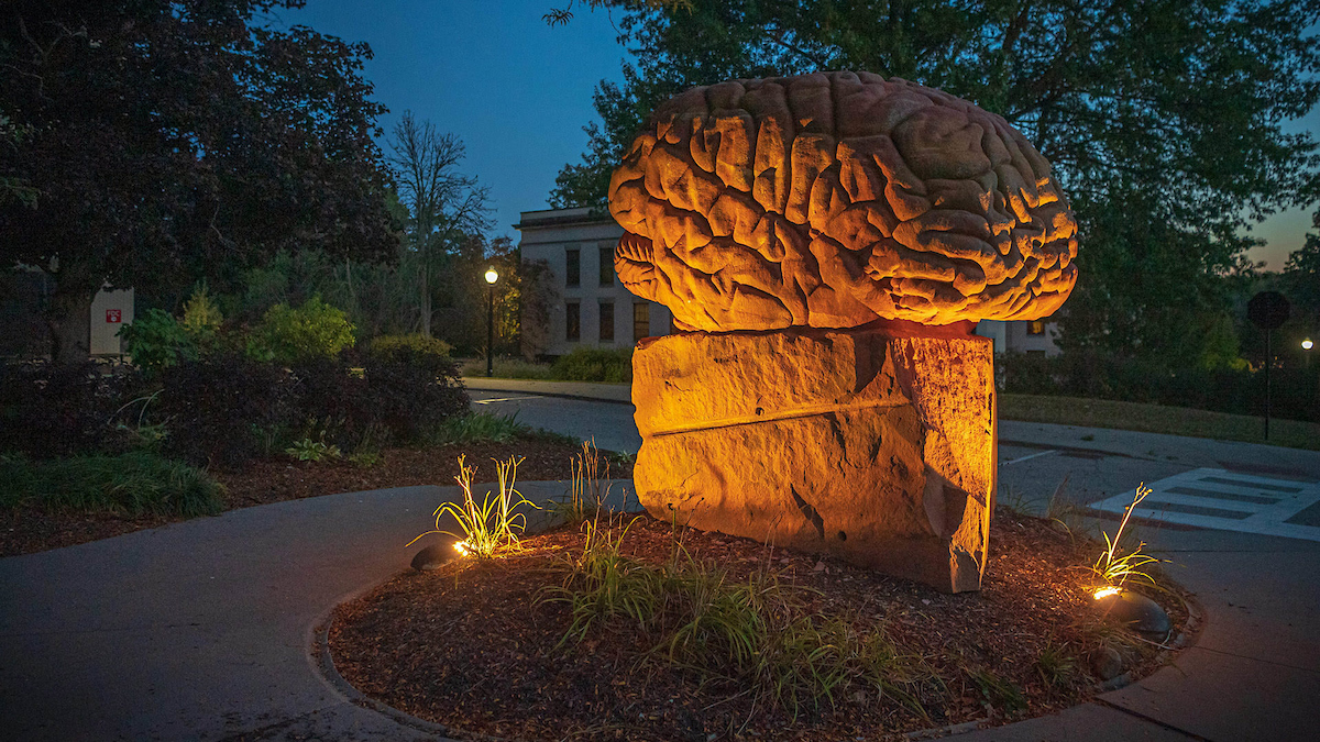 A statue in the shape of a brain sits on Kent Campus in the evening.