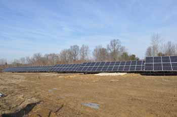 An array of solar panels being installed on the Salem Campus.