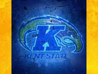 Kent State logo over a blue cracked wall with yellow borders