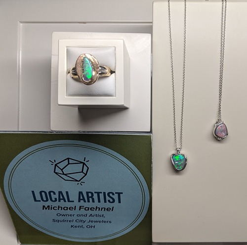 Opal ring and two necklaces made by Michael Faehnel, owner of Squirrel City Jewelwers.