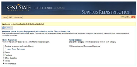 Kent State University has a redistribution website as a means to transfer unwanted or surplus office furniture and equipment to other departments.