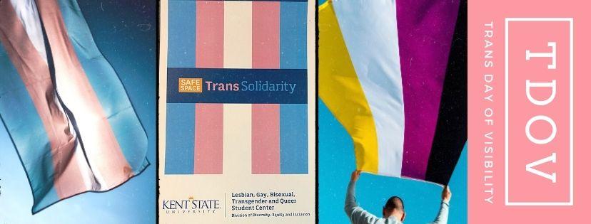 image of transgender flag, nonbinary flag and KSU LGBTQ Center Trans Solidarity certificate