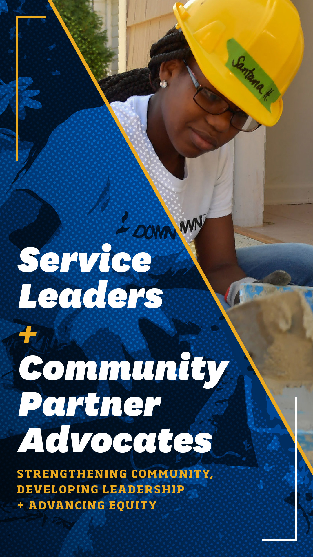 """Banner image saying """"Service Leaders  & Community Partner Advocates. Strengthening Community, Developing Leadership, and Advancing Equity"""""""""""