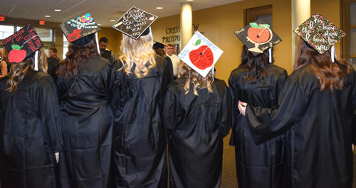 Mortar boards turned message boards