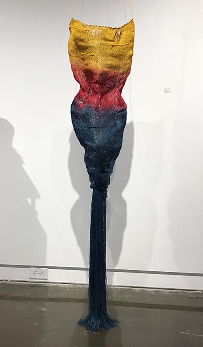 Textiles Award - Megan Taylor, Body Vessel #2, hand-dyed linen, wire, Undergraduate