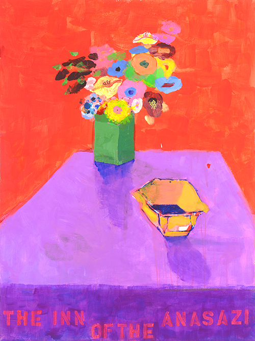 Still life of flowers on a purple table by Patricia Zinsmeister Parker