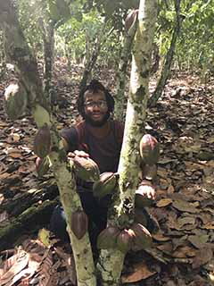 As an intern, Christopher Thompson spent time on a cocoa farm. Here, he is holding cocoa pods
