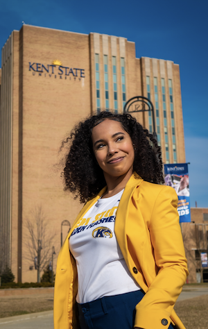 Tiera Moore in front of the library