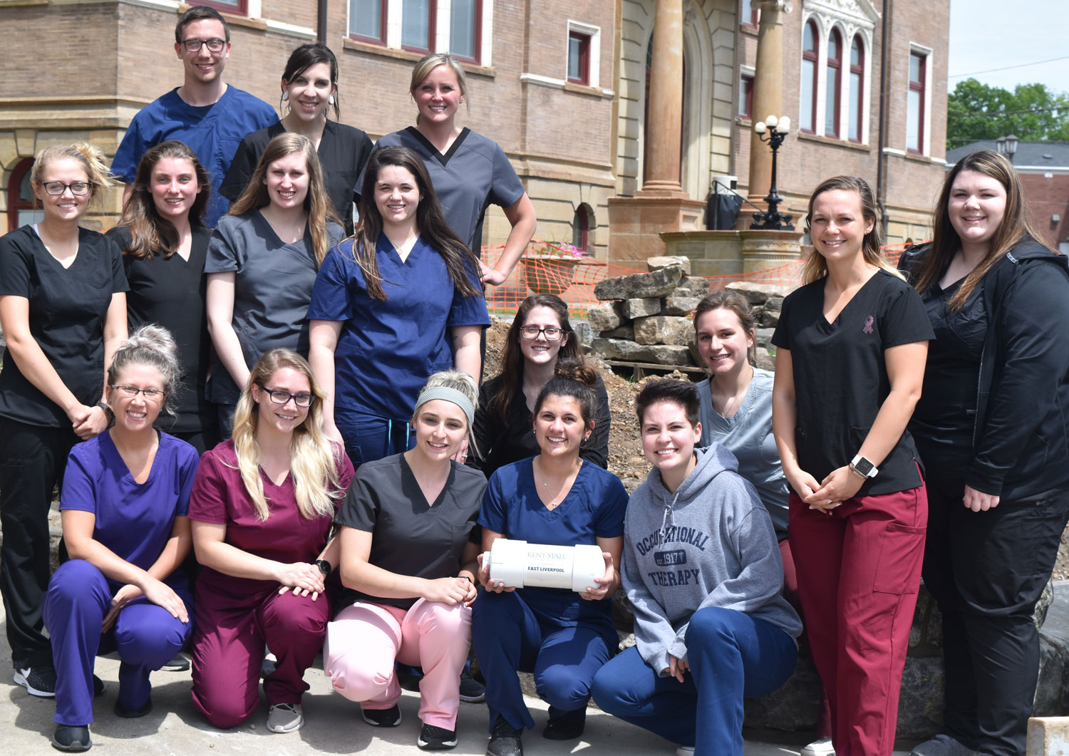 With the Kent State East Liverpool time capsule are Occupational Therapy Assistant students