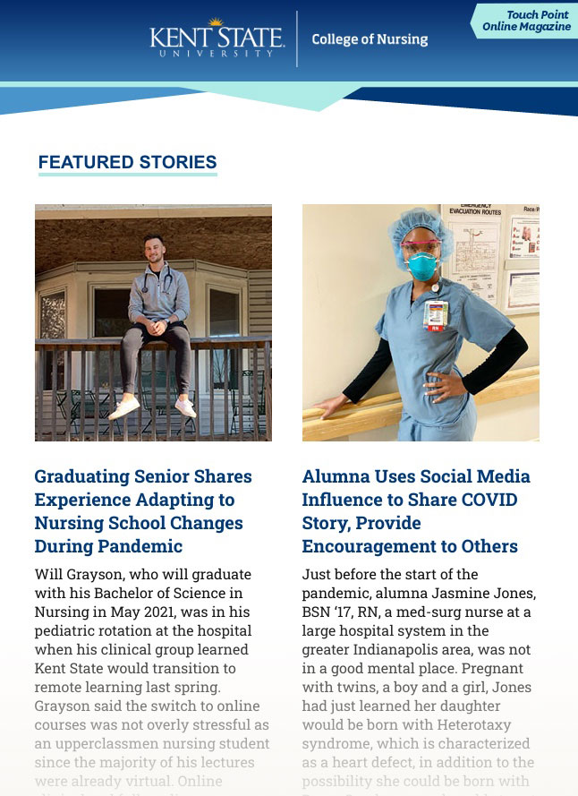 Screenshot of the spring 2021 Touch Point Online Magazine