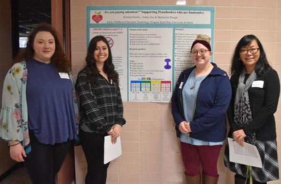 Students (from left) Mackenzie Pringle, Kristina Fusillo and Ashley Joy with Dr. Tsunghui Tu.