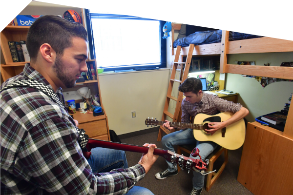 Two students in their Kent State residence hall room