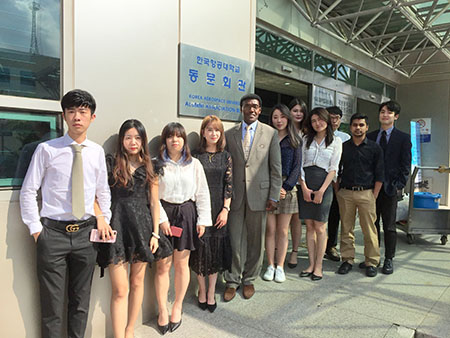 Dr. Nettey is pictured with all 10 aviation students in the Transportation Principles class from Australia, China, India and South Korea in Korea Aerospace University's 2018 International Summer Program, Goyang City, Seoul, South Korea.