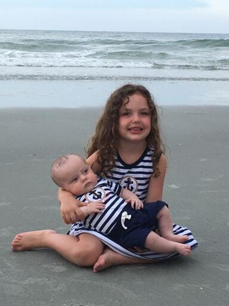 Jennifer Dantz's grandchildren Kennedy and Caleb spend time on the beach in Garden City, South Carolina.