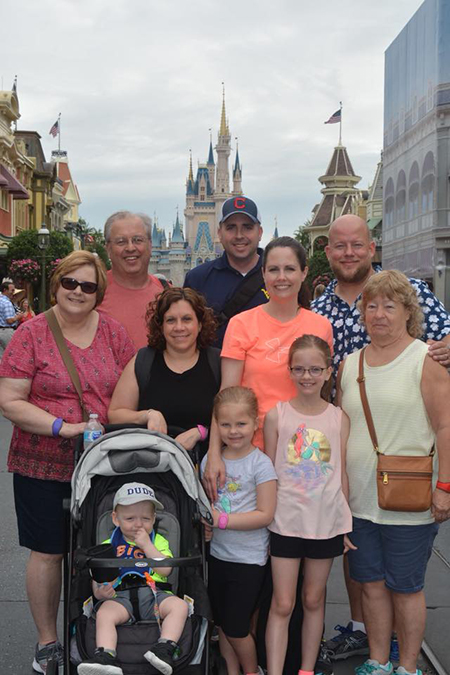 "Sheila Pratt's son, daughter and their families were able to go on the trip to Disney World with her. She describes it as a ""fantastic family vacation!"""