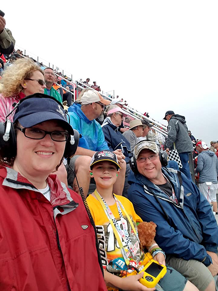 Kerry Angle and her family enjoy the third race of the week on June 10 – Monster Energy NASCAR Cup Series. She says it was rainy, but it was a great race.