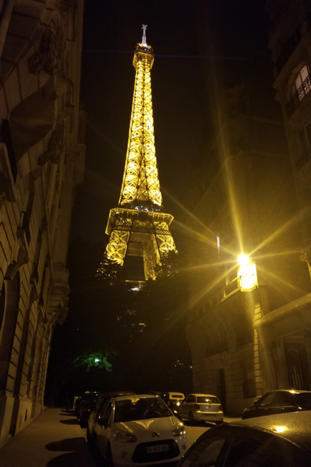 Nicole Brooks, associate IT security analyst with the Division of Information Services, shared this photo of the Eiffel Tower lit up at night during her vacation to Paris.