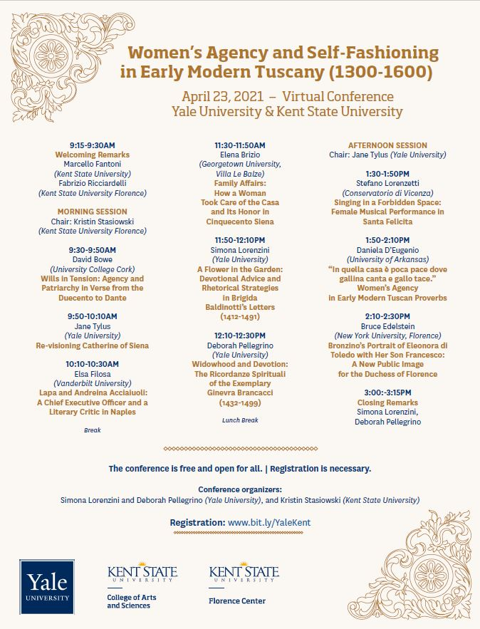 Women's Agency and Self Fashioning in Modern Tuscany conference flyer.