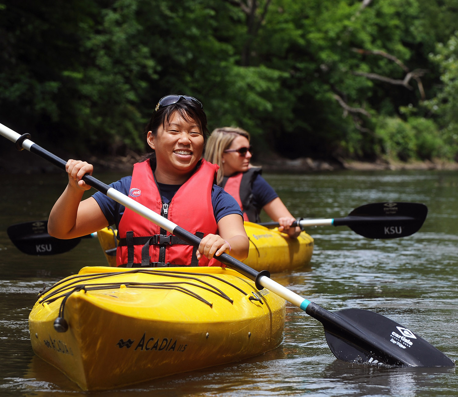 Students can canoe or kayak down the Cuyahoga River.