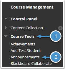 Course Tools menu expanded