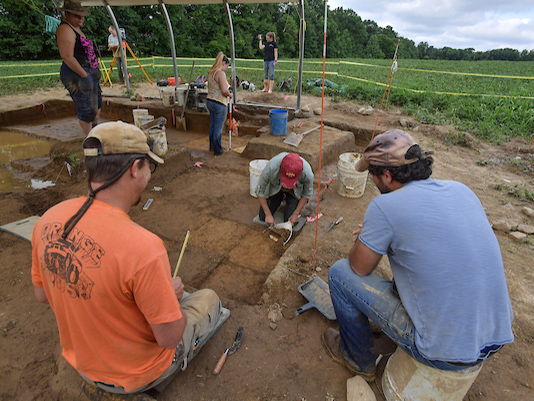 Archeology students working in the field
