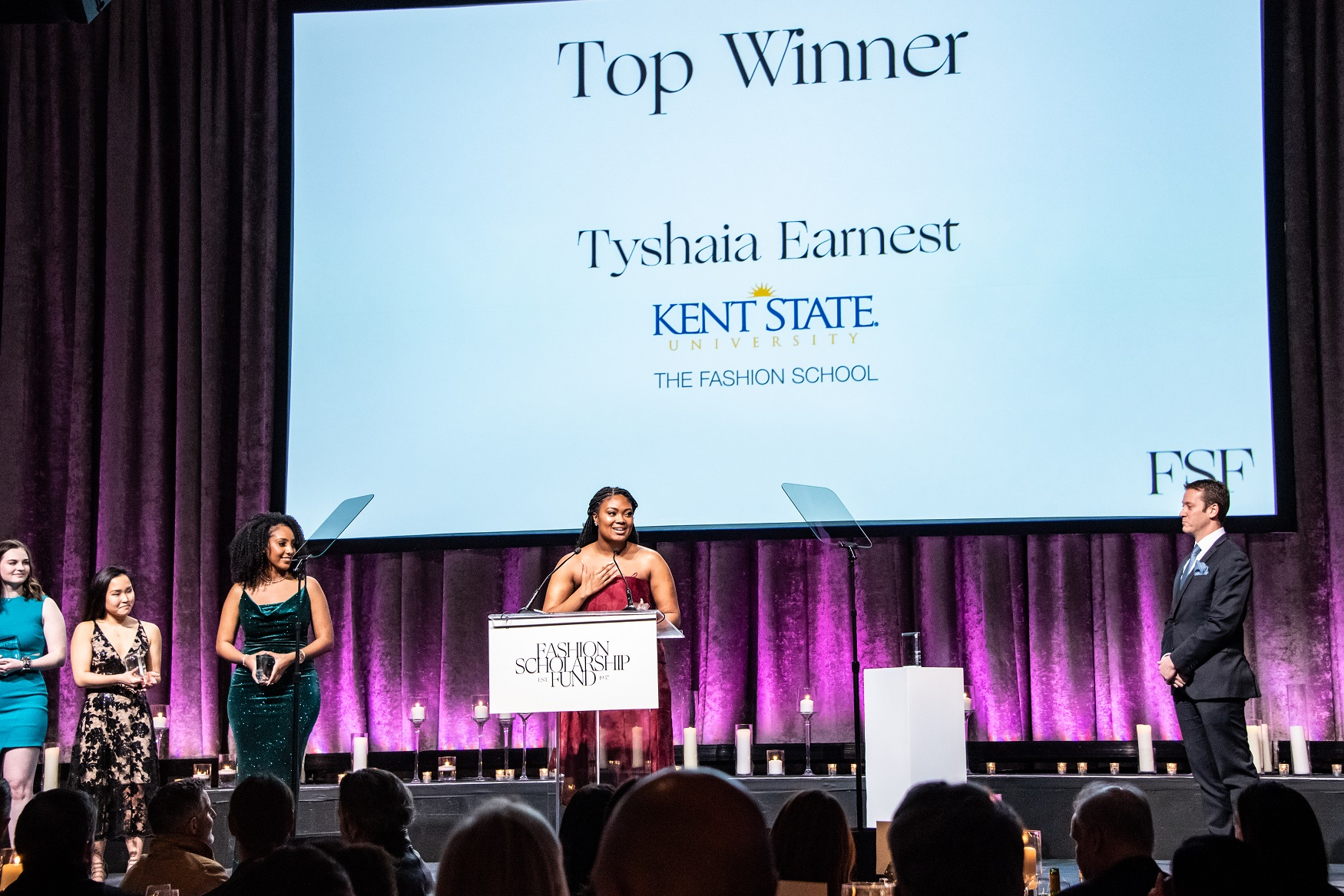 Kent State University Fashion School student Tyshaia Earnest wins the top award at the 2020 Fashion Scholarship Fund Gala in New York City. (Photo courtesy of YMA Fashion Scholarship Fund)