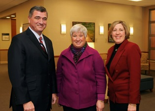 Morris Beverage, president of Lakeland Community College; Susan Stocker, dean and chief administrative officer of Kent State University at Ashtabula; and Mary Ogrinc, senior vice president of patient care services and chief nursing officer at Lake Heath, at Lake Health's TriPoint Medical Center.