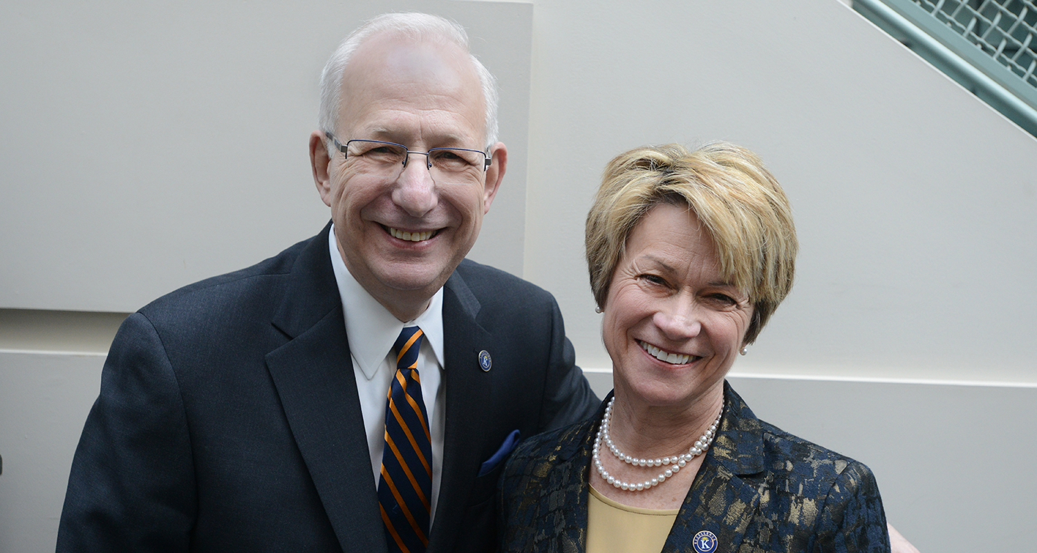 Kent State President Lester A. Lefton, the university's 11th president who is retiring at the end of June, poses with Dr. Beverly J. Warren, who will serve as the 12th president of Kent State starting July 1, 2014.