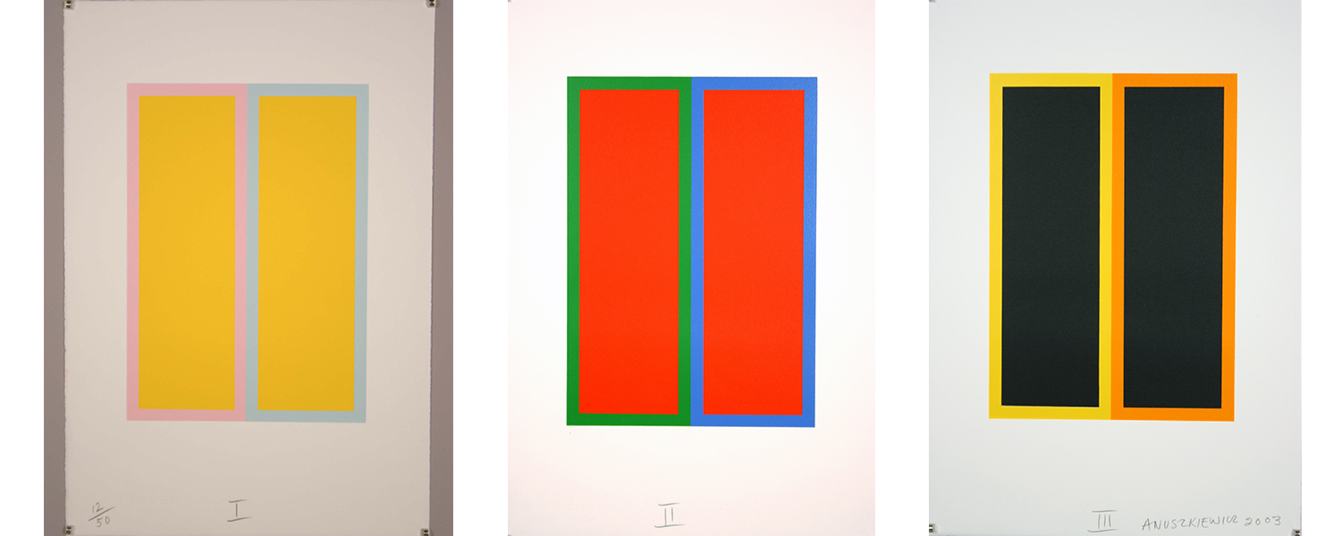 Three screen prints by Richard Anuszkiewicz. Each print has two rectangles in different colors representing the Twin Towers.